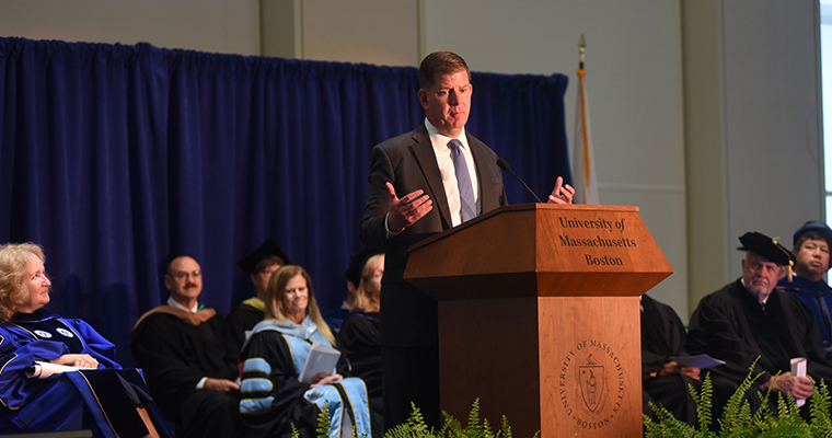 Mayor Marty Walsh speaks at convocation.