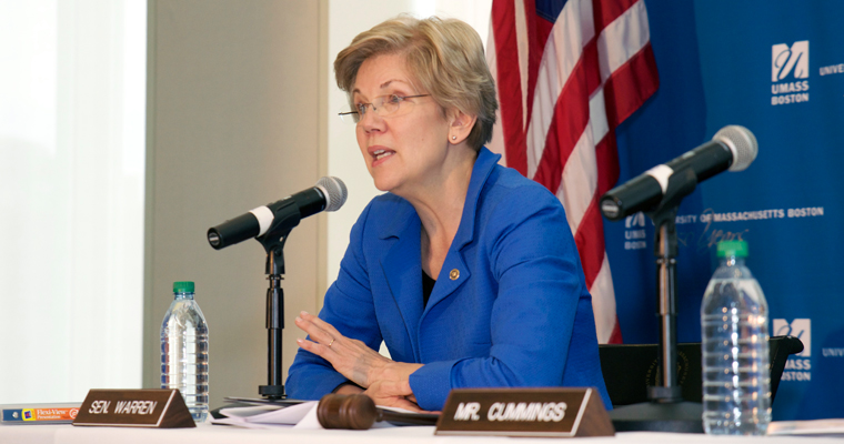 Elizabeth Warren last spoke on the UMass Boston campus in April 2015 at a college affordability forum.