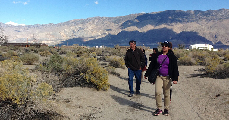 Paul Watanabe leads an Honors College Colloquium to Manzanar, a Japanese American internment camp in California.