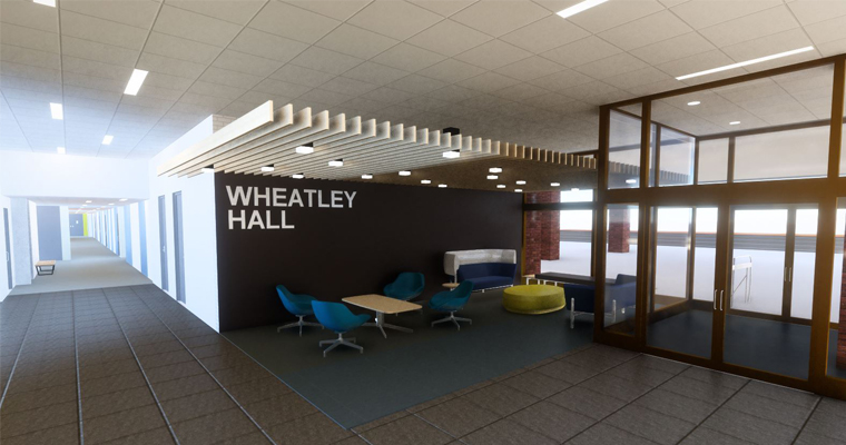 Rendering showing what renovations to Wheatley Hall could look like.