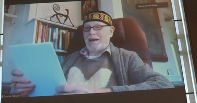 Duncan Nelson delivers his ode from home