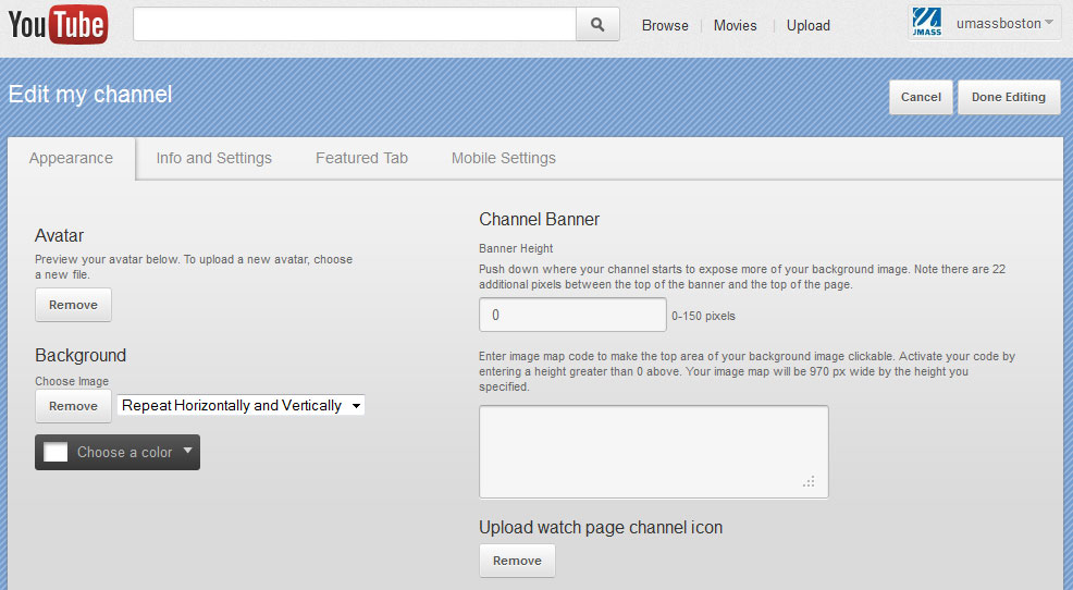 Screen capture showing YouTube menu under