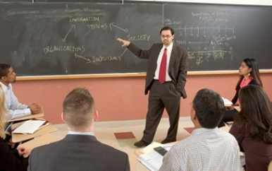 Professor Pratyush Bharati, at the blackboard in his classroom
