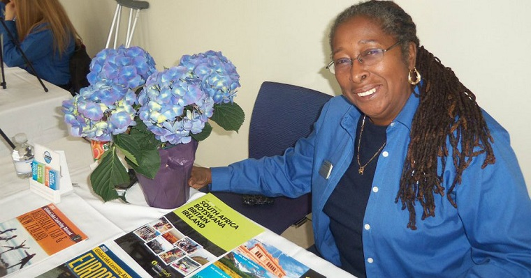 Lurlene at a study abroad information table.