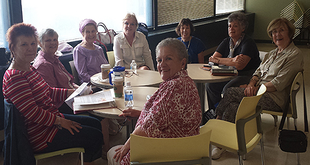 OLLI Book Group Members Discuss Books During a Special Interest Group Meeting at UMass Boston
