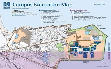 Photo of UMass Boston campus evacuation map.