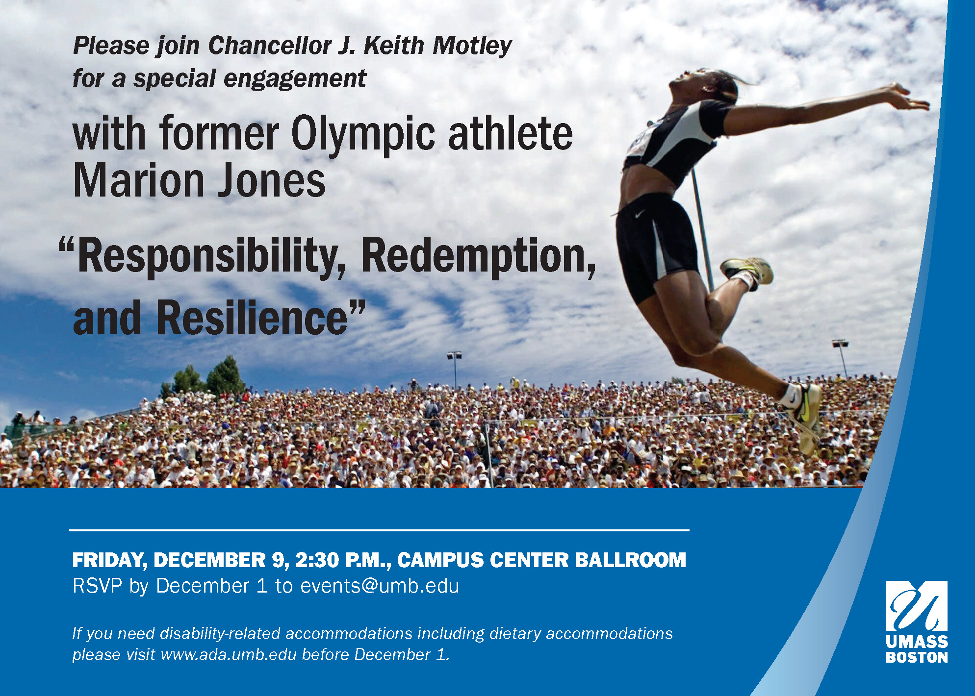 Invitation to hear Marion Jones on Friday December 9 at 2:30pm