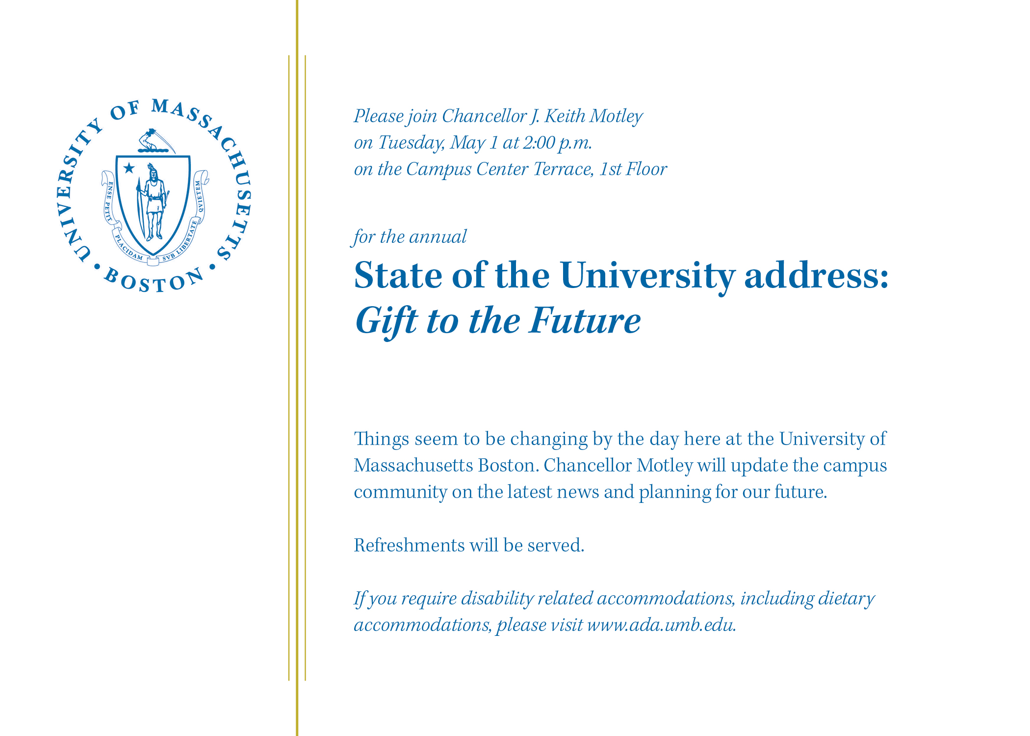 State of the University Post Card Invitation