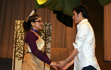 Picture of TAG students in a performance of Pocahontas
