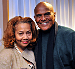 Barbara Lewis, director of the Trotter Institute, with singer, songwriter, actor and social activist Harry Belafonte.