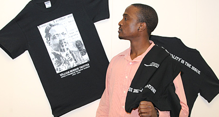 Picture of student looking at T-shirt