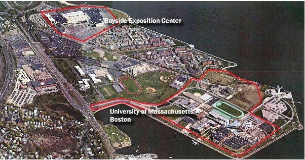 Map of the Bayside campus, which is near the UMass Boston campus proper