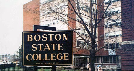Sign marking the entrance to Boston State College