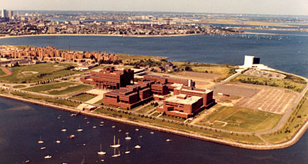 Aerial view of the UMass Boston campus as it looked in 1974.