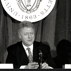 President Bill Clinton on the UMass Boston campus in 1997.