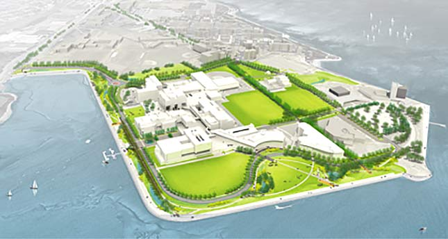 future view of UMass Boston campus with green spaces and walkways
