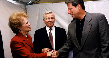 Then Chancellor Sherry Penney with Vice President Al Gore, 2000.