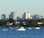 Picture of the Boston Harbor, including the downtown Boston skyline