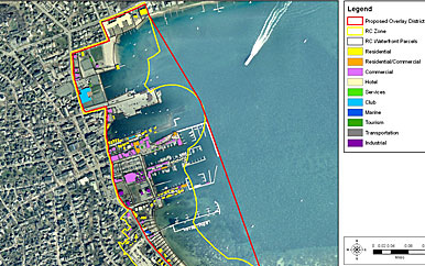 Picture of map showing zoning along waterfront