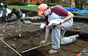 UMass Boston students study archaeology at Gore Place, the estate of former Massachusetts Governor Christopher Gore.