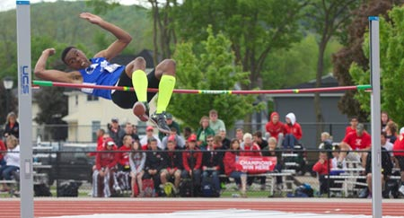 Tylor Hart, UMass Boston's indoor high jump record holder, wants to become a coach and physician's assistant.