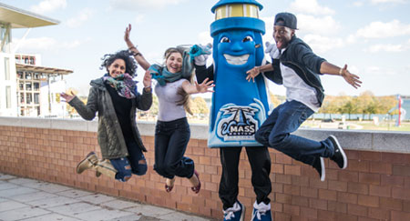 These UMass Boston students are hoping you'll jump at the chance to make a donation before Giving Tuesday on December 1, 2015.