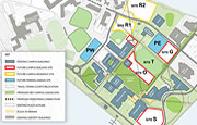 A schematic of the UMass Boston campus showing campus development plans.