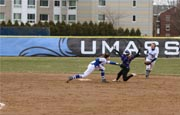 The UMass Boston softball team plays its home games right behind the Clark Athletic Center.
