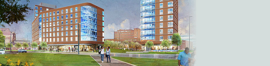 Rendering of what residence halls at UMass Boston might look like