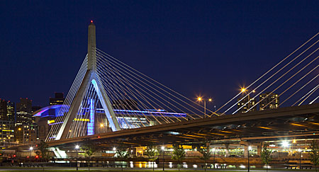 The Zakim Bridge was lit up in UMass Boston blue on June 15, 2014 in recognition of UMass Boston's 50th anniversary.
