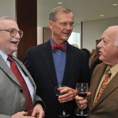 Chancellor's Distinguished Service Award recipient John Lutts (left) shares a laugh at the 2012 Retired Faculty Luncheon.